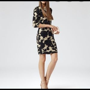 Reiss lavine bodycon dress sz 2 black and gold